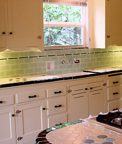 Green Subway Tile Backsplash