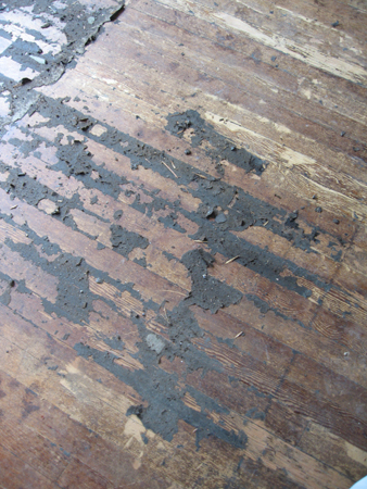 close up of tar on floor