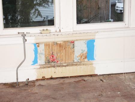 wallpaper behind the guestroom radiator