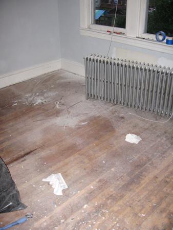 guest room floor before sanding