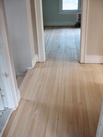 hall floor sanded