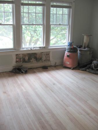 master bedroom sanded wood floor